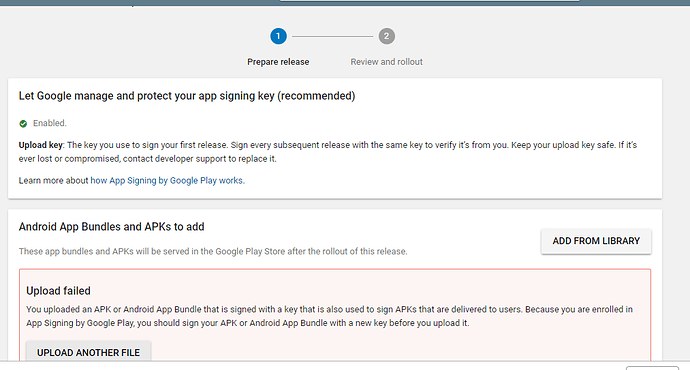 Apk not uploaded in google play console - Discuss - Kodular