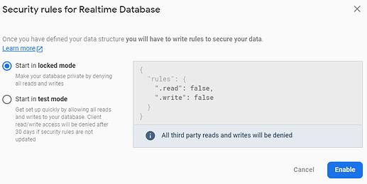 Creating and Connecting our own Database to Firebase