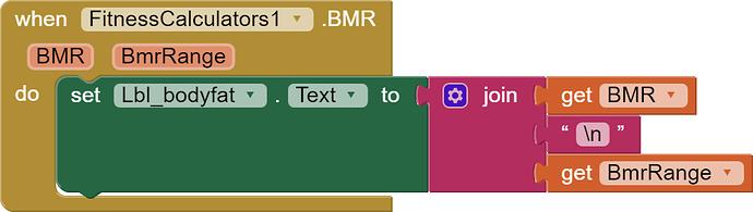 display bmr and range