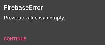 Firebase Error Message while appending a value to a specific tag