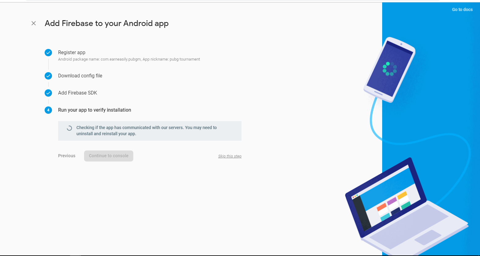How to verify your app to add firebase into your app