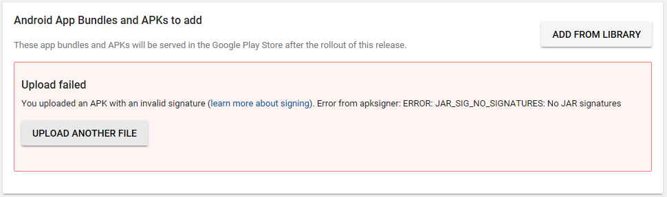 You uploaded an apk with an invalid signature - Discuss