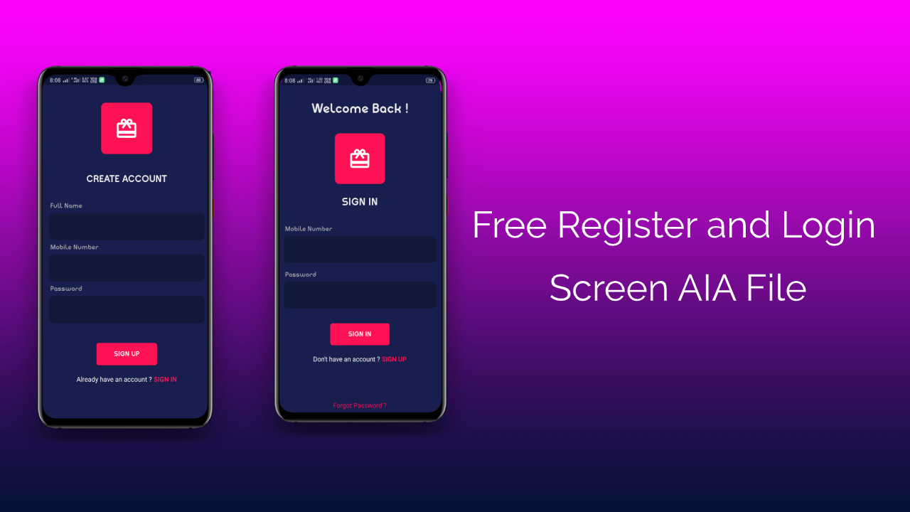 Register and Login Screen template Free aia file for Kodular